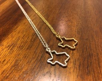 Texas Necklace - Texas Pendant - Texas Charm - Texas Outline - Texas Jewelry - State Jewelry