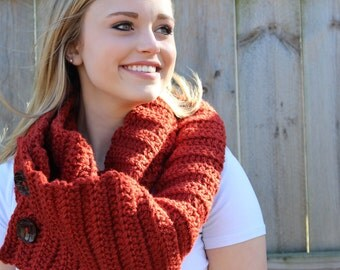 WINTER SALE!!! Crochet Scarf, Burnt Orange Infinity Scarf with Buttons