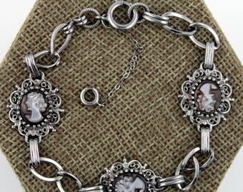 Vintage Sterling Silver Mother of Pearl Cameo Bracelet