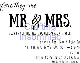 Mr. & Mrs. Rehearsal Dinner invitation