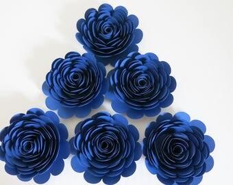 "Navy Blue Paper Roses, Big 3"" Blooms, Set of 6, Wedding Flowers, Bridal Shower Decor, Baby Nursery, Event Planning Floral Decorations"