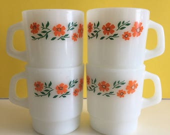 Vintage Termocrisa Milk Glass Coffee Mugs