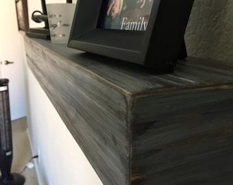 "Rustic Floating Shelf, Reclaimed wood shelf, shelves, 36"", shelving, wall art, bookcase, man cave, game room"