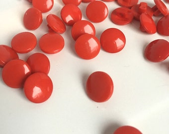 20, red buttons, shiny red buttons, 11mm buttons, small red buttons, shank buttons, baby buttons, sewing buttons, craft buttons, UK seller
