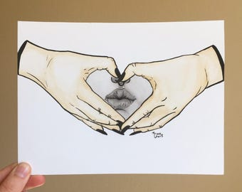 Heart hands kiss black and white original framed painting