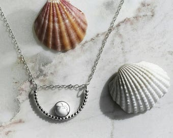 Marble Necklace - Sterling Silver Beaded Curve Necklace with Genuine Howlite Gemstone