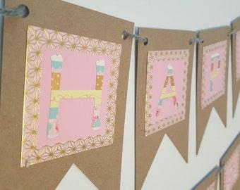 Happy Birthday Banner / Birthday Party Decor / Pink / Gold / Shabby Chic / Cute / Custom