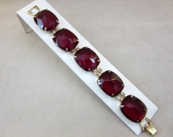Gorgeous Kramer of New York Signed Red Link Glass and Rhinestone Bracelet