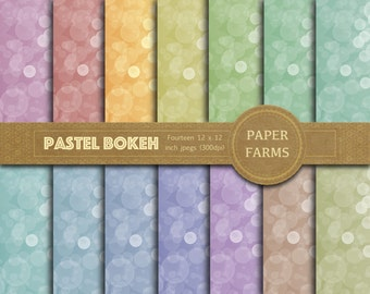 Pastel bokeh digital paper, rainbow bokeh digital paper, bokeh effects, colored bokeh, digital bokeh, scrapbooking paper, instant download