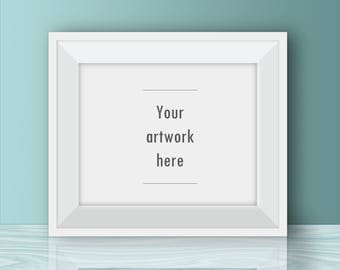 Horizontal poster mockup, 10 x 8 inches, 5 x 4 inches, 20 x 16 inches, teal room mockup, white frame, digital frame, mock-up, nursery, kid's