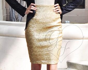 Matte Gold Sequin Pencil Skirt - Knee Length