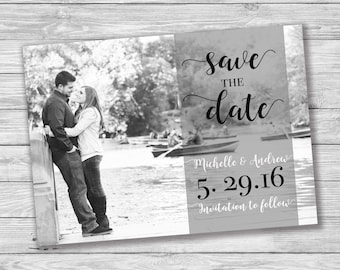 Custom Photo Save the Date, Photo Save the Date, Printable Save the Date, Black and White, Digital Print, Single Picture, Love, Script, B&W