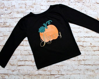 Pumpkin Monogrammed Toddler Shirt - Sparkly Gold, Sparkly Green and Orange