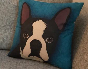 Boston terrier, Cushion cover, Pillow case, dog pillow cover, pet cushion cover, gift, french bulldog