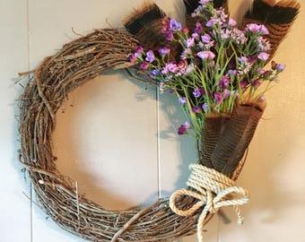 Purple Floral Turkey Feather Wreath