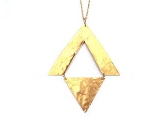 Bold Statement Necklace Geometric Long Gold Brass Triangle Big Sleek Mysterious Tribal Modern Chic