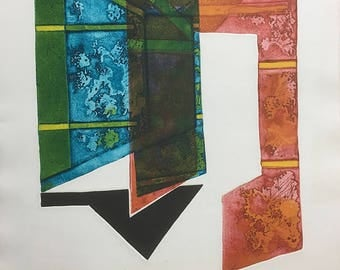 """Color Etching """"Threshold"""" Ed. 30/30, 1971 by artist E. Trevor"""