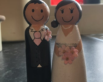 Personalised Peg People Wedding Cake Toppers Bride & Groom