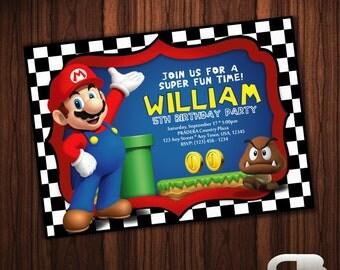 Super Mario Invitation - Super Mario Invite - Super Mario Birthday Invitation - Super Mario Birthday Party - Digital File Download
