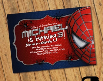 Spider man invitation orderecigsjuicefo spiderman invitation etsy wedding invitations stopboris Choice Image
