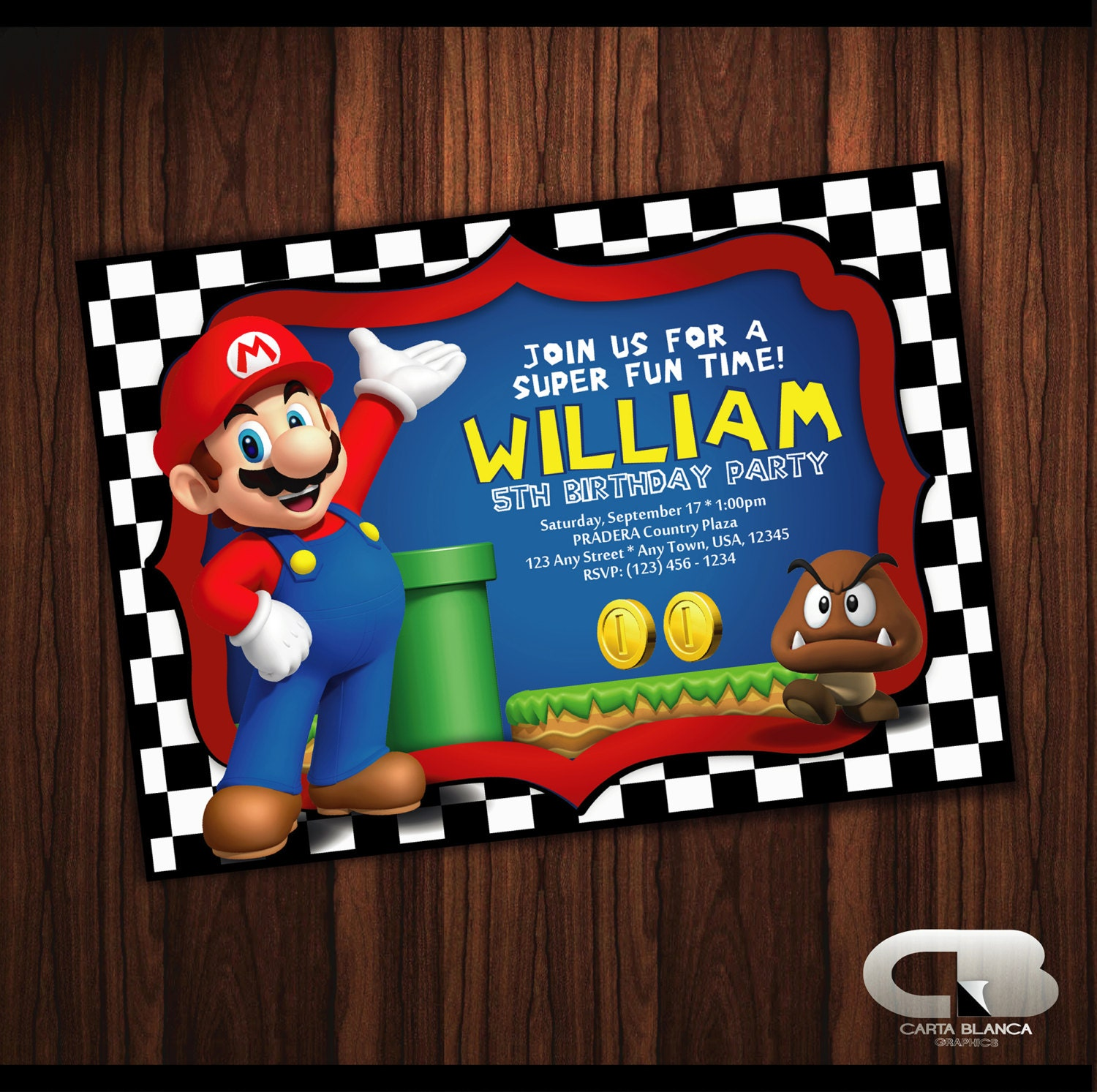 Super Mario Invitation Super Mario Invite Super Mario