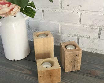Set of 3 Reclaimed Wood Tea Light Candle Holders | Tea Candle Holder | Candle Holder | Rustic | Decor | Home | Home Decor | Reception Tables