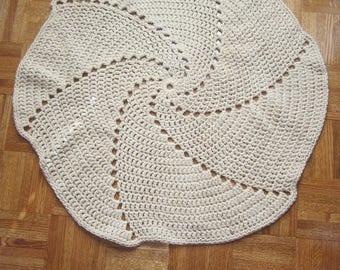 """Cotton Crochet Beige Area Rug 34"""""""