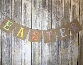 Burlap Easter Banner, Easter Banner, Easter Banner Photo Prop