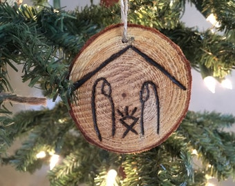 Nativity Wood Burned Ornament
