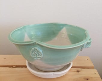 Berry Bowl with Saucer, Handthrown Berry Bowl, Green and White Glaze, Handmade