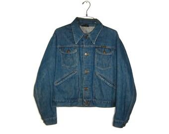 Classic 70s Wrangler Denim Blue Jean Jacket (Size 40)