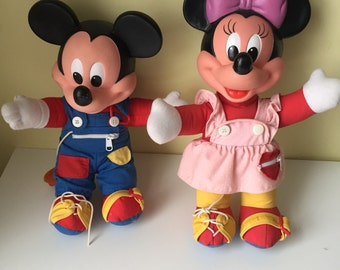 Mattel Teach and Learn to Dress Mickey and Minnie dolls Mickey Mouse Minnie Mouse Disney