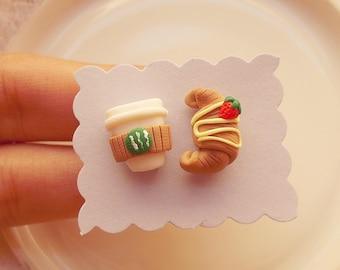 Starbucks earrings - Polymer clay earrings - Coffee earrings - Polymer clay Starbucks - Miniature Food - Croissant and coffee