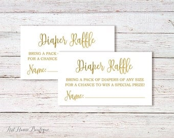 Baby Shower Diaper Raffle Tickets, Gold Baby Shower, Instant Download, Digital File, #BS01