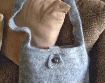 Felted tote/Felted bag/Hand knit felted bag/Felted wool bag/Felted wool purse