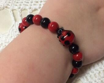 Red and black Ladybug Bracelet, ladybird bracelet, girls bracelet, ladybug jewelry, ladies bracelet, kids bracelet, lady beetle