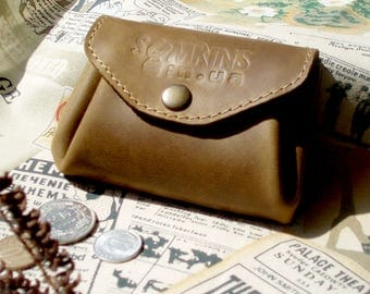 Small coin purse leather coin pouch women's wallet card holder money purse distressed leather leather accessories handmade toddler purse