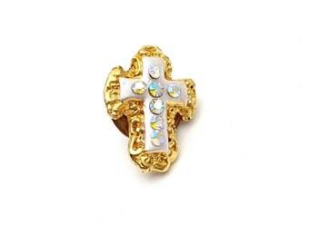 Miniature Cross Pin Gold tone metal Vintage with Holographic Rhinestones tiny mini Crucifix Church Religious Religion Baptism Communion Gift