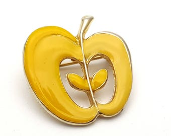Yellow Painted Enamel on Gold Tone Metal Apple Brooch Metal Vintage Teacher Gift End of School Year First Day of School Teaching Present