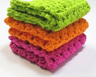 Crochet Washcloths - Knit Washcloths - Crochet Dish Cloths - Cotton Washcloths - Cotton Dishcloths - Housewarming Gift - New Home Gift