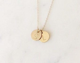 Double charm necklace  -letter necklace - mommy necklace -  initials of children -