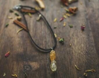 Citrine choker | Beautiful citrine choker | Leather choker | Handmade jewelry