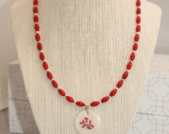 Ruby Red Sea Bamboo Coral Necklace
