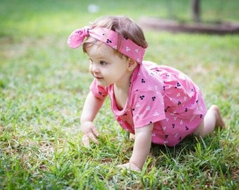 Organic Cotton Baby Dress-bodysuit , pink with black and white dots