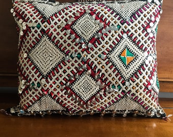 "Vintage Moroccan Sequined Wool Pillow-19"" long x 16"" wide"