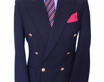 St Michael Vintage 42 long Double Breasted Navy Blazer with Brass detailed Buttons