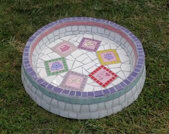 Mosaic dog water bowl hand made