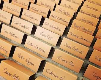 Handwritten Wedding Place Name Cards. Cool, Calligraphy, Modern Design, Table Settings, Party.