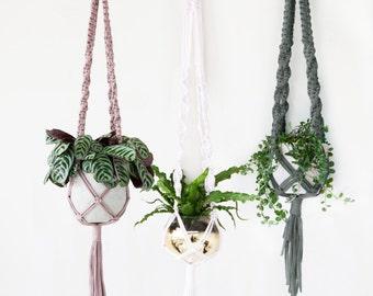 Macrame Plant Hanger / Plant Pot Holder / Medium Large / Urban Jungle / Indoor Planter /  army Green dark Blue Aqua Brown Bordeaux