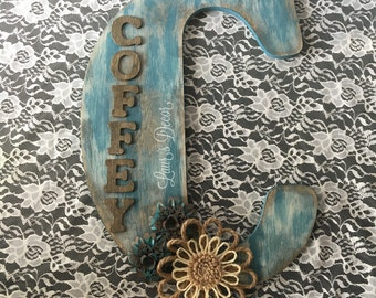 Tall Distressed Wooden Letter